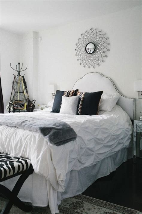 White Studded Headboard Contemporary Bedroom The