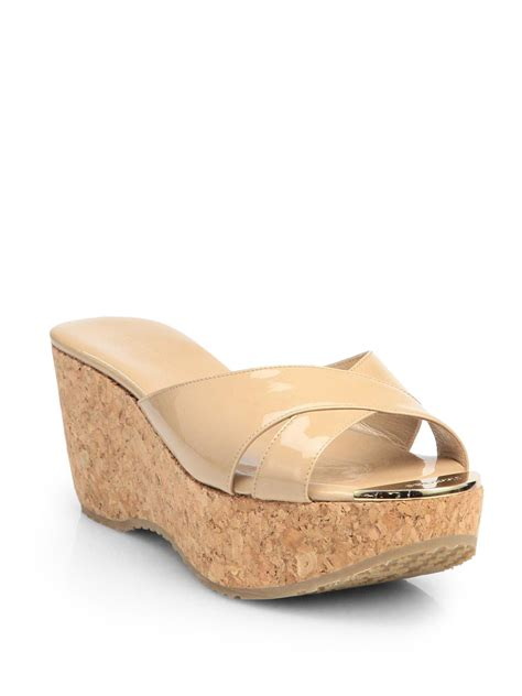 Get Your Groove On With Jimmy Choo Patent Shoes by Jimmy Choo Prima Patent Leather Cork Wedge Sandals In