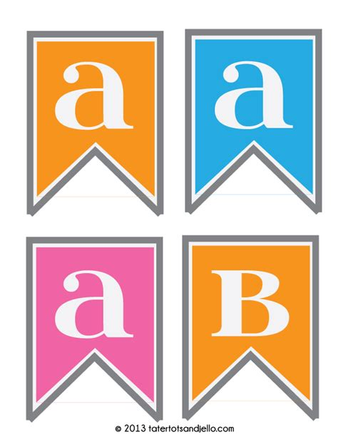 free printable alphabet flag banner free pink blue and orange pennant printables alphabet