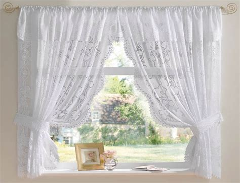 crossover voile curtains andrea jacquard lace net curtain set in white ebay