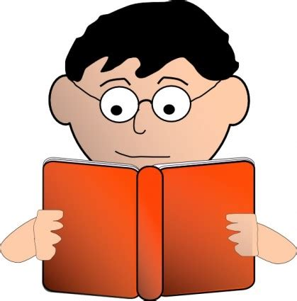 Membaca Format Eps | laki laki yang membaca dengan kacamata clip art vektor