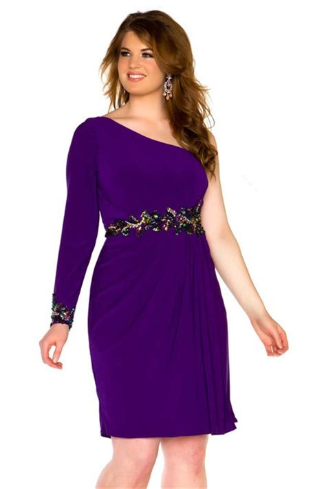 one shoulder purple chiffon beaded plus size cocktail prom dress with sleeve