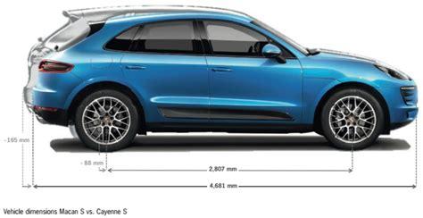Porsche Macan Abmessungen by Compare Macan Cayenne In Size Porsche Macan Forums