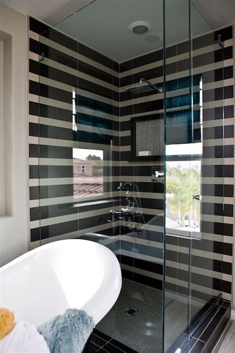 striped shower tiles contemporary bathroom lulu designs