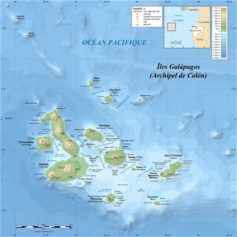 map of islands and file galapagos islands topographic map fr png wikimedia