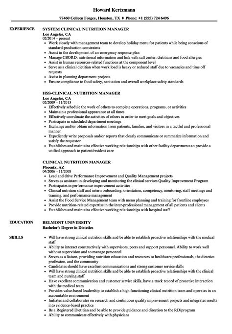 Assistant Manager Description Resume Sle by Dietitian Resume Sle 28 Images Fitness Manager Sle