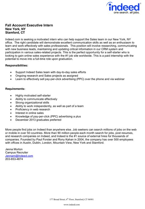 Cover Letter Template For Indeed Fordham Career Services Fall Internships Available