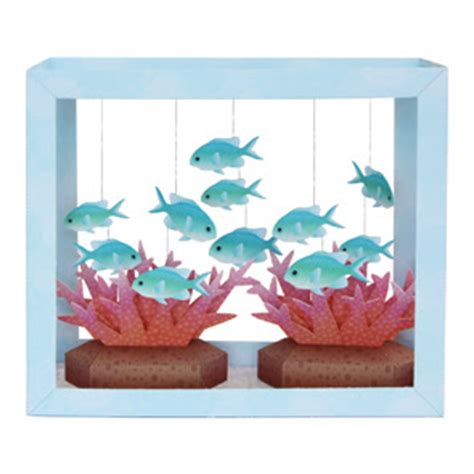 How To Make A Paper Aquarium - papercraft aquarium blue green puller papercraft