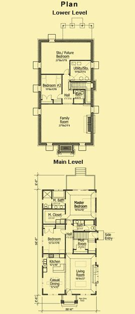 Narrow Lot Bungalow House Plans by Cottage Bungalow Plans Simple 2 Bedroom For A Narrow Lot