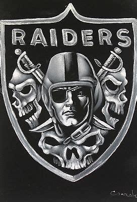 fantastic oakland raiders skull logo oil painting