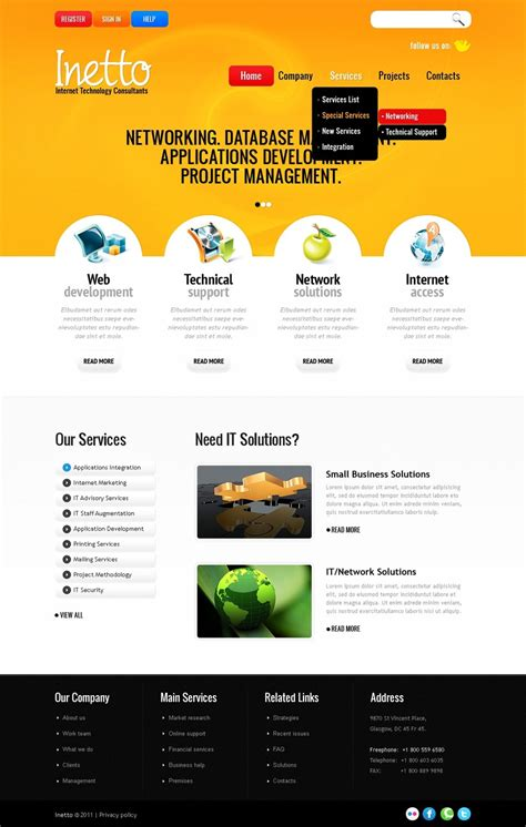 Internet Website Template 36204 Website Templates