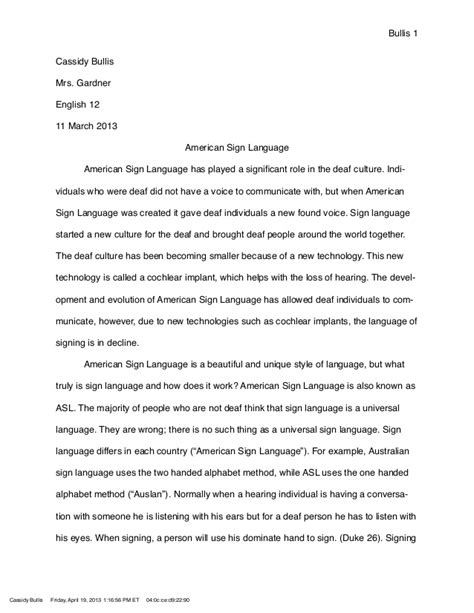 language research paper sign language research paper