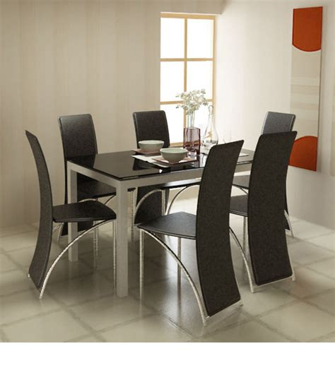 Mission Style Cabinets Kitchen midnight dining table with black glass top by godrej