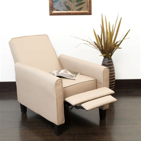 modern ivory recliner club chair with stylish arm and pull