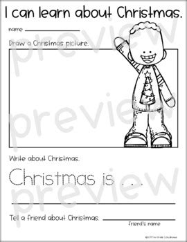 christmas writing  kindergarten   grade