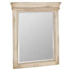 Vintage 27 in w x 33 in h antiqued white rectangular bathroom mirror