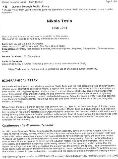Biographical Narrative Essay Exle by Nikola Tesla Biographical Essay