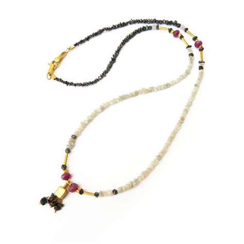 Unique Handmade Necklaces - white black necklace ruby 18k gold unique