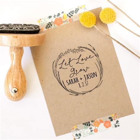 Let Love Grow Rubber Stamp, Custom Wedding Stamp, Wedding Favor Stamp, Seed Favor Stamp, Seed