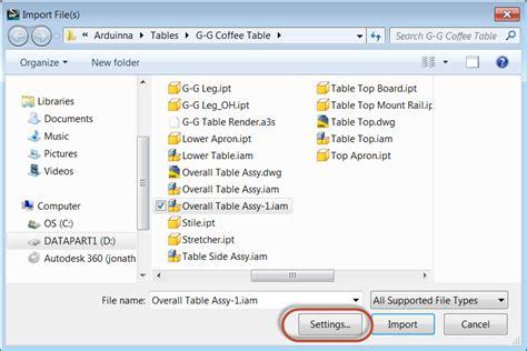 Sleting Import choosing the import settings
