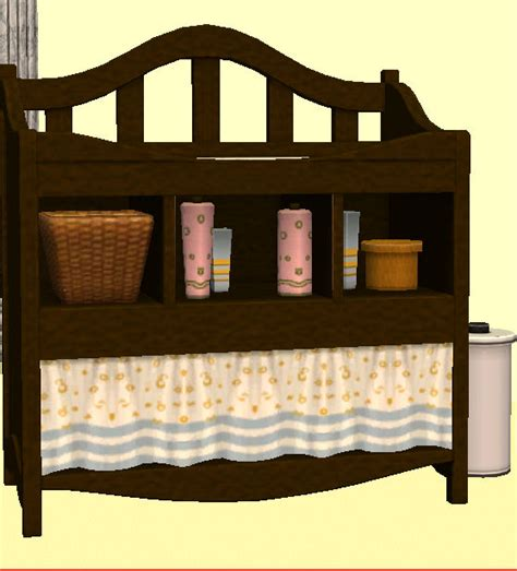 Baby Mod Changing Table Mod The Sims Mahogany Baby Set