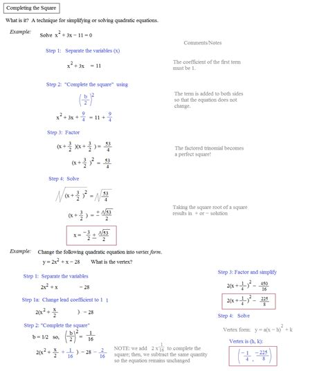 Completing The Square Worksheet by Math Plane Completing The Square Quadratic Formula