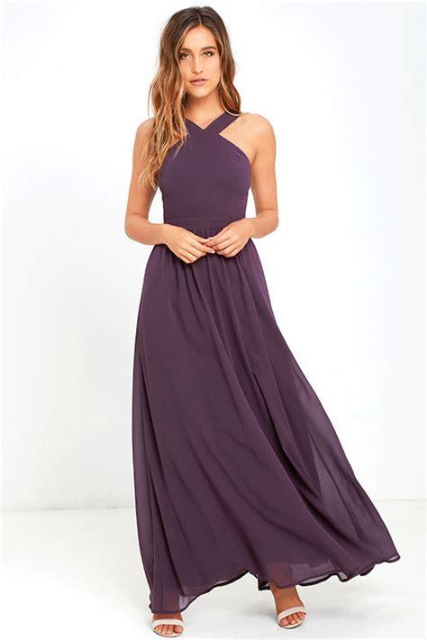 Afikha Dusty Maxi 1 beautiful dusty purple dress maxi dress halter dress