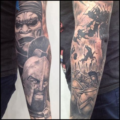 300 spartan tattoo designs 300 sleeve black and grey realism