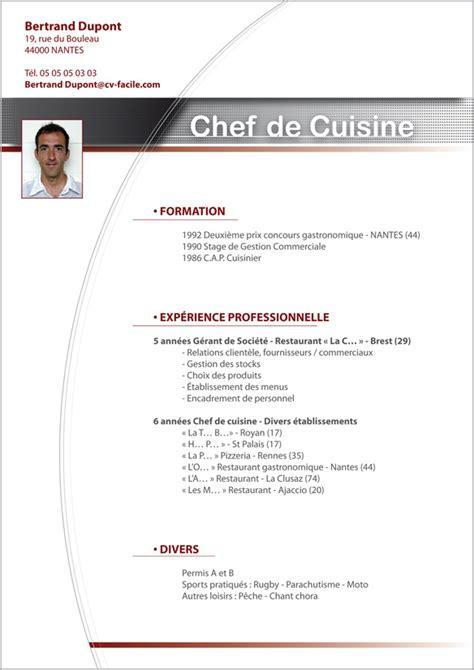 exemple cv cuisine exemple cv cuisinier cr 233 ation cv par cv facile
