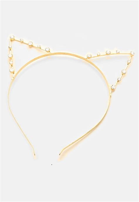 Lovely Metal Headband And Necklace gold metal rhinestone cat ear headband cat ears headband