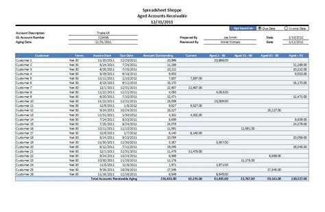 Accounts Receivable Template accounts receivable aging excel template