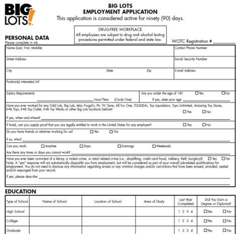 printable job application for big lots big lots job application form printable job application