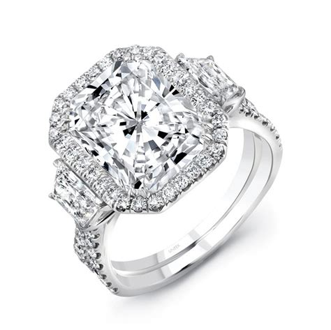 uneek three engagement ring with 6 carat radiant cut