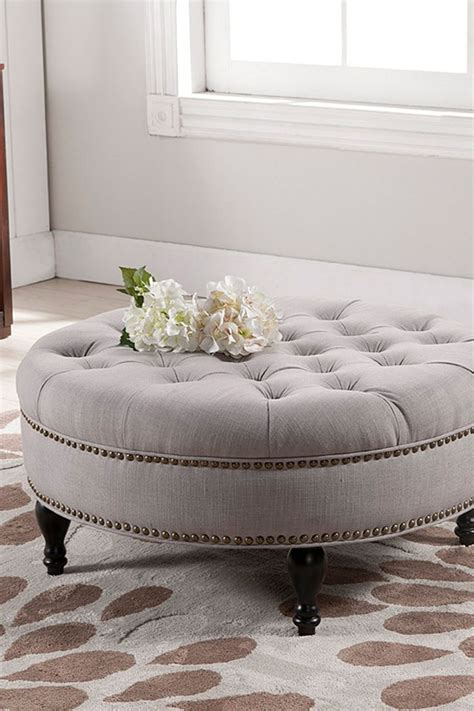Furniture Organization Modern Round Taupe Linen Tufted Upholstered Ottoman Coffee Table