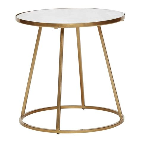 Table Basse Ronde Marbre by Hubsch Table Basse Ronde Marbre Blanc Metal Laiton Dore 670321