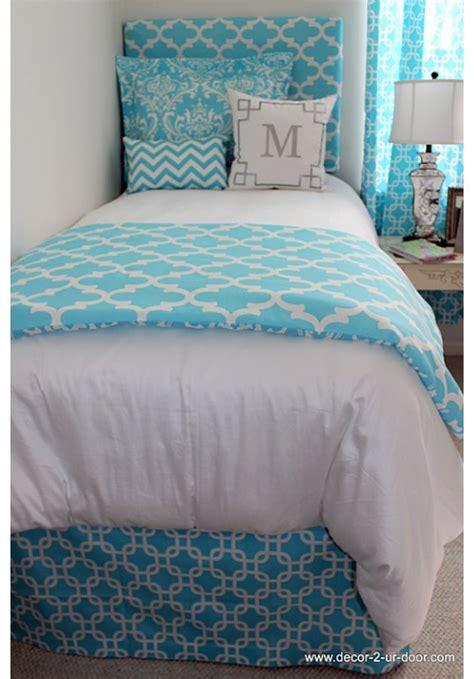 girls dorm bedding bright blue designer teen dorm bed in a bag teen girl