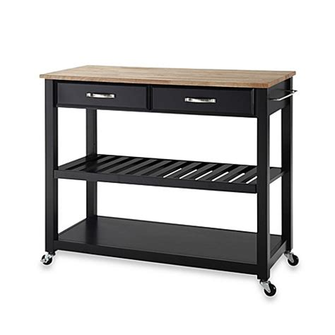 wood kitchen island cart crosley natural wood top rolling kitchen cart island with removable shelf bed bath beyond