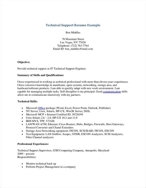 Cover Letter For It Engineer by Cover Letter Exles For It Support Engineer Cover
