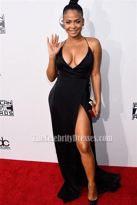 Christina Milian Sexy Low Cut Thigh high Slit Black Halter Prom Dress 2015 AMAs