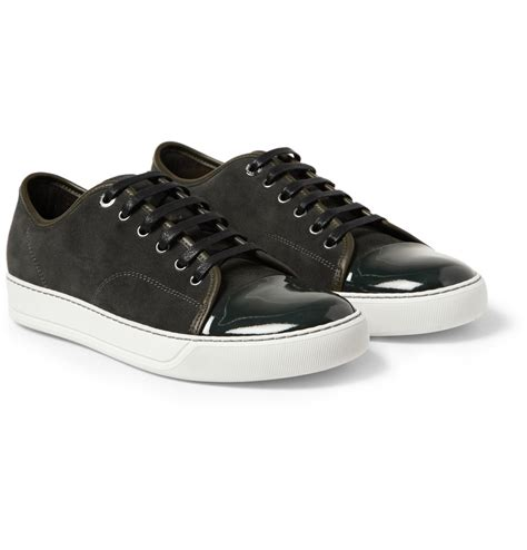 mens patent leather sneakers lyst lanvin suede and patent leather sneakers in green