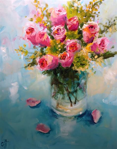 Paintings Of Flowers In A Vase by Flower Painting Roses In A Glass Vase Canvas Or Paper