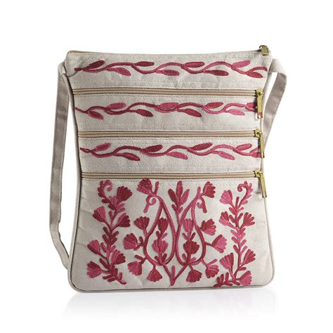 Sling Bag Unik Flower embroidered pink colour paisley pattern light grey suede fabric sling bag size 27x20