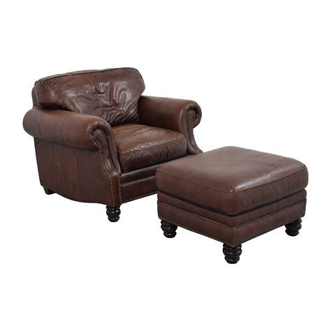 matching chair and ottoman 75 off brown leather studded armchair with matching
