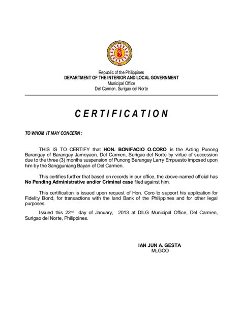 Certificate Letter Sle Sle Barangay Certification Letter 28 Images Barangay Tax Code Sle Loadxtreme Resources How