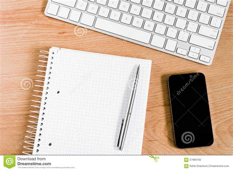 Desk Notepad L office desk with keyboard and notepad stock image image