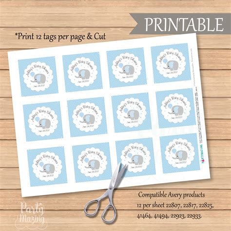printable favor tags avery personalized baby blue elephant tags printable boy shower