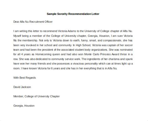 Letter Of Recommendation Or Letter Of Support Sorority sle sorority recommendation letter docoments ojazlink