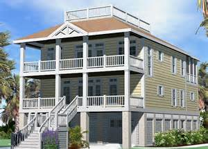 Roof Deck Plan Foundation Porches Cottage Roof Deck Option Piling Foundation Gallery