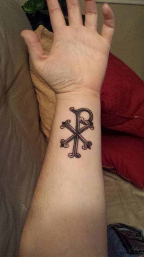 tower classic tattoo my chi rho mostly healed just as i imagined it