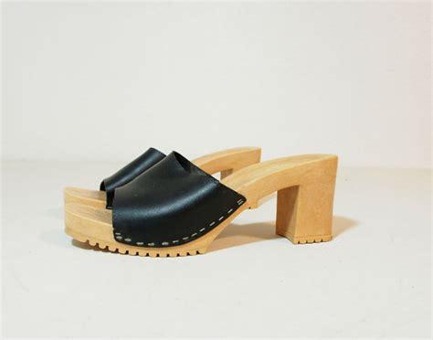 black leather high heel mules vintage black leather high heel clogs slip on mules size 10